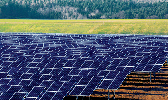 Solar PV Farms, lots of solar panels installed in fields